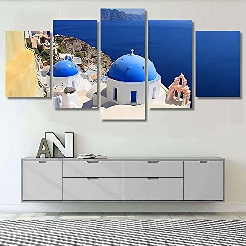 Panorama Lienzo Pueblo de Oia en la Isla de Santorini Grecia 200x100cm 5 Piezas de Arte Moderno. Cuadros Modernos Decoración Salón,Ideal para Decorar el salón, Sin Marco.
