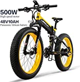 DE-BDBD Elektro-Bike 26In Reifen 500W Motor 48V 10AH Removable Große Kapazitäts-Batterie Lithium-E-Bikes Schnee MTB Folding Elektro-Fahrrad 27 Speed Gear Shimano Schaltsystem,Gelb