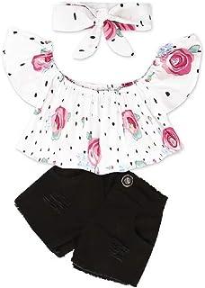 Hooyi - Conjunto de ropa de moda para niños y niñas con un hombro, camisetas y pantalones cortos de jeans rasgados y diade...