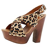 Breckelles Rudy-13 Platform Sandals,9 B(M) US,Leopard Suede