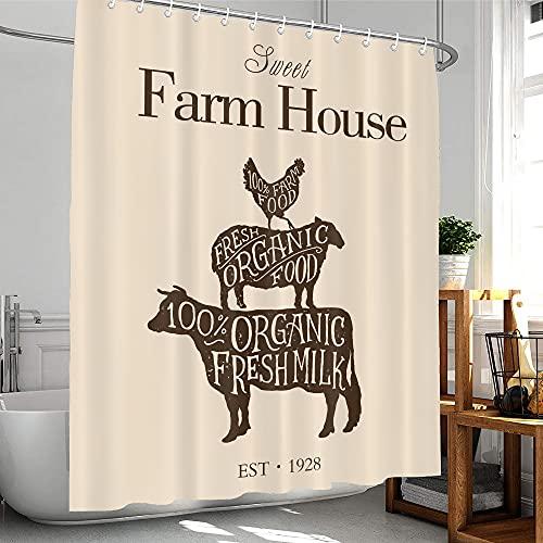 Homewelle Farmhouse Duschvorhang 60 B x 72 H niedliches rustikales Rinderschwein Hühner Tiere Western Sweet Farm Landschaft 12 Pack Haken wasserdichtes Polyestergewebe Badezimmer Badewanne