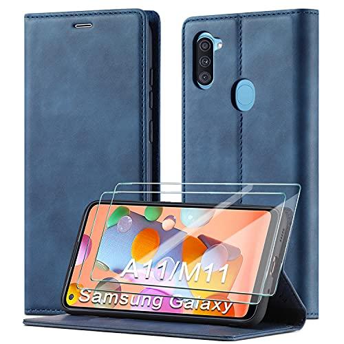 xinyunew Schutzhülle für Samsung Galaxy A11/M11 Hülle, Leder Flip Wallet Schutzhülle, Magnetverschluss Leder Flip Schutzhülle Lederhülle für Samsung Galaxy A11/M11 Hülle (Blau)