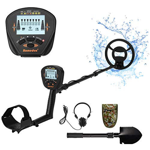 Homedex Accurate Metal Detector with LCD Display, Gold Detector with 10inch Waterproof Sensitive Search Coil, Shovel and Headphone, All Metal, P/P & Disc Modes, Adjustable Height for Adults & Kids