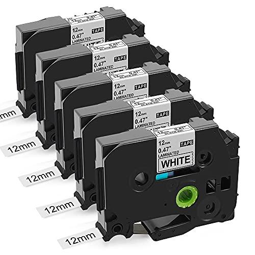 Nastro Unistar Compatibile In sostituzione di Brother TZe-231 Nastro per Etichettatrice TZ Tape 12mm 0.47 Nero su Bianco per Brother P Touch PT-H110 H107B H105 H100LB 1000 2030VP 7100, confezione da 5