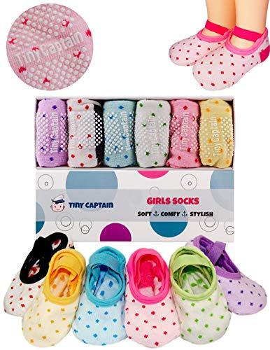 Toddler Girls Baby Grip Socks Gift for 1-3 Year Old Girls Socks - Anti Slip Non Skid Socks W/Strap Age 1 Toddler Girl Gifts - 12-24 Month Girls Socks Tiny Captain
