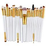 KOLIGHT Lot de 20 pinceaux cosmétiques pour fard à paupières, eyeliner, sourcils, lèvres, nez, fond de teint, poudre (doré et blanc)