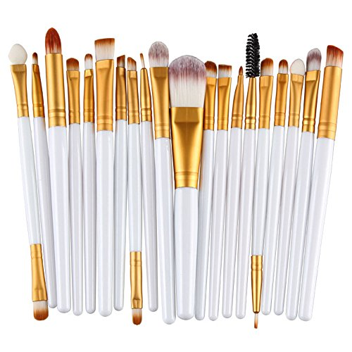 KOLIGHT Pack of 20pcs Cosmetic Eye Shadow Sponge Eyeliner Eyebrow Lip Nose Foundation Powder Makeup Brushes Sets (Gold California