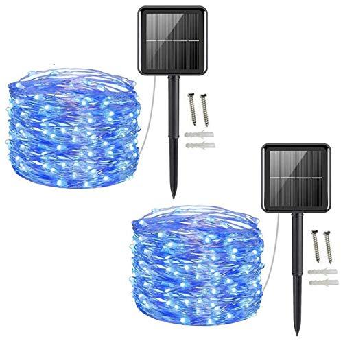 [2 Pack] Solar Fairy Lights, 200 LED Outdoor Solar String Lights Garden Copper Wire Decorative Lights 66Ft Waterproof Indoor Outdoor Lighting for Garden, Patio, Yard, Christmas(Blue)