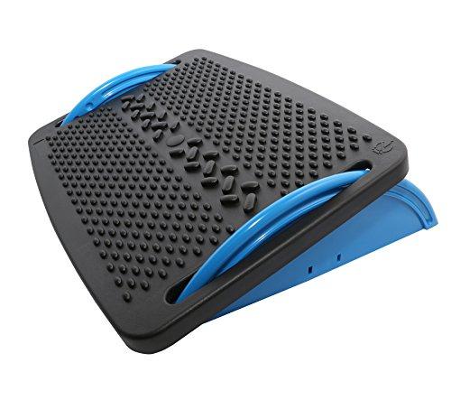 IO Crest Ergonomic Floating Tilt Foot Rest Textured Surface Reduce Muscle Strain, Black Blue (SY-ACC65076)