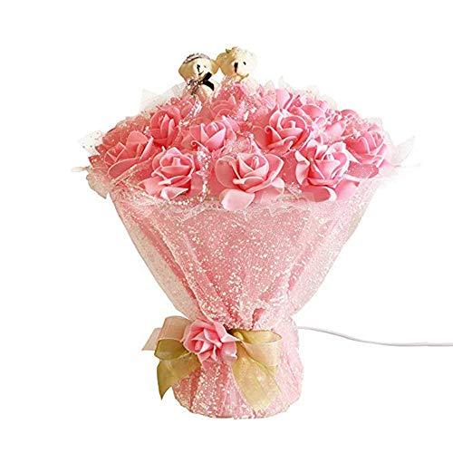 GPWDSN Rose bouquet, creatief pvc-netweefsel, sneeuwvlok, E27, led-bloem (niet meegeleverd), cadeau voor Valentijnsdag, bruiloft, verjaardag, cadeau