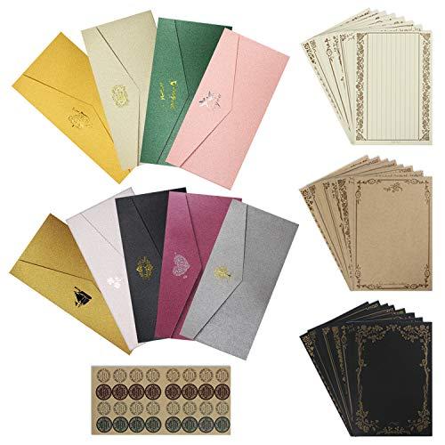 「セエダ」レターセット ツヤある封筒9枚 便箋24枚 お祝い手紙 カード シンプル アンティーク 挨拶状 ビジネス招待状