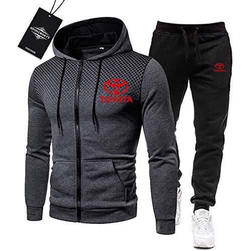 BOLGRTYXC Herren Trainingsanzug Einstellen Joggen Passen Toyo-ta Kapuzenpulli Zip Jacke + Hose Sport R Herren/Grau/L