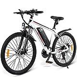 ZWJABYY Bicicleta EléCtrica,Bicicleta EléCtrica para Adultos De 26 Pulgadas,Motor EléCtrico De Bicicleta De MontañA De 350W, Velocidad De hasta 35Km/H,BateríA De Aulithium 36V/10Ah,White
