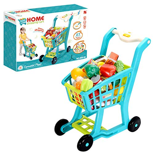 Ama-store Funny Creative Children's Shopping Cart Toy Colorful Groceries Pretending Toys with Music Lighting Best Gift for Children(Blue)