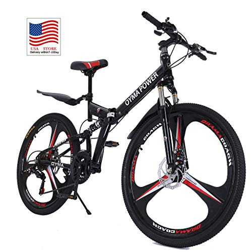 Folding Mountain Bike, 26 Inch 21 Speed Outroad Mountain Bike for Adult Teens Full Suspension MTB Bike Double Disc Brake Bicycles for Men Women