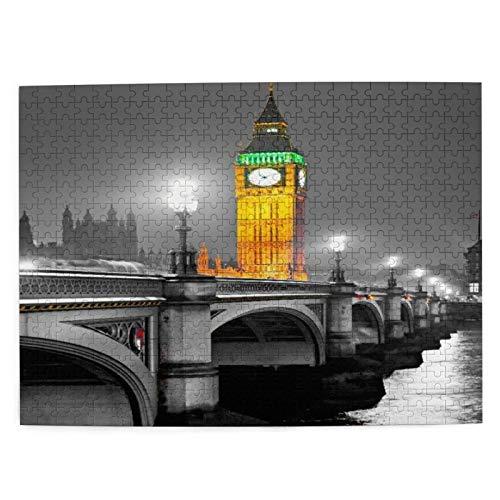 DAHALLAR Mittlere Größe Jigsaw-Puzzles 500 Stücke,Der Big Ben,das House of Parliament und die Westminster Bridge bei Nacht,London,UK, Lustig Familienspiel Hängende Heimdekoration,20.4' x 15'