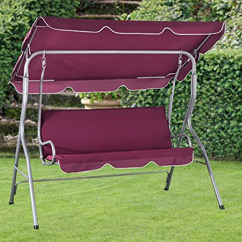 ArtLife Hollywoodschaukel 3-Sitzer mit Dach & Sitzauflage – Gartenschaukel 200 kg belastbar – Schaukelbank für Garten & Terrasse - rot