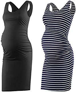 Qunisy Women's Sleeveless Maternity Tank Dress Ruched...