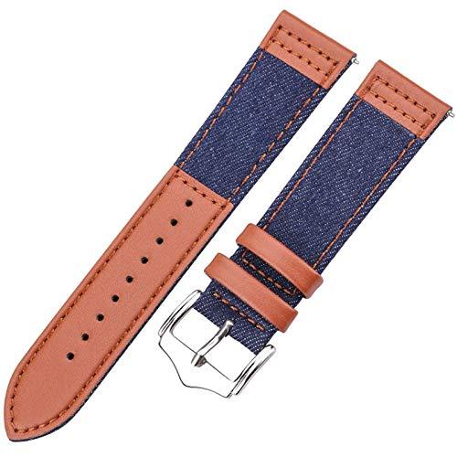 ZXF Correa Reloj Pulsera accesoria del Reloj de la Correa de 22 mm. (Band Color : Dark Blue, Band Width : 22mm)