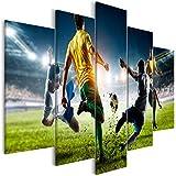 decomonkey Bilder Fußball 200x100 cm 5 Teilig