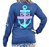 Southern Attitude Salty Rope Anchor Navy Blue Long Sleeve Shirt (X-Large)