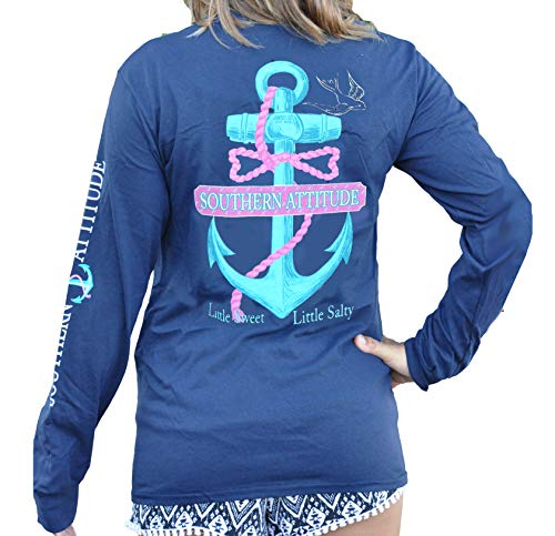 Southern Attitude Salty Rope Anchor Navy Blue Long Sleeve Shirt (Small)