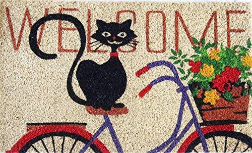Zerbino da Esterno in Cocco con Base in PVC Dipinto a Mano Raffigurante Gatto Accucciato su Bici Scritta Welcome 70X40X2 cm. Facile da Lavare e Ultraresistente