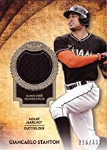 2017 Topps Tier One Relics #T1R-GS Giancarlo Stanton Miami Marlins Game Worn Jersey Baseball Card - Only 331 made!