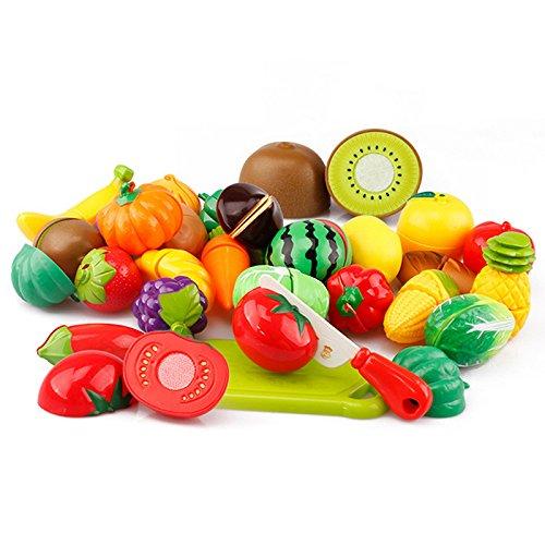Mackur Juego de juguetes de cocina para niños, cena de alimentos, frutas y verduras para niños