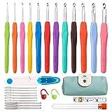 Juego de agujas de ganchillo–24 piezas de ganchillo de colores con funda portátil, agujas de ganchillo de aluminio (2 mm - 10 mm) con mango ergonómico de goma suave para principiantes y profesionales