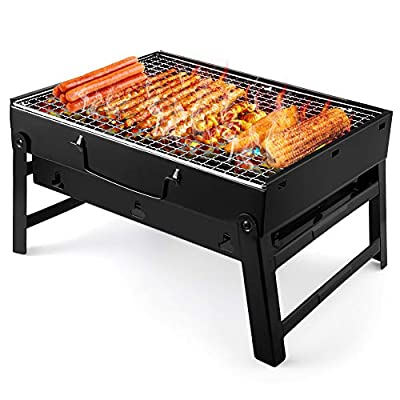 UTTORA Barbecue Grill, Charcoal Grill Portable Folding BBQ Grill Barbecue Desk Tabletop Outdoor Stainless Steel Smoker BBQ for Picnic Garden Terrace Camping Travel 15.35''x11.41''x2.95''