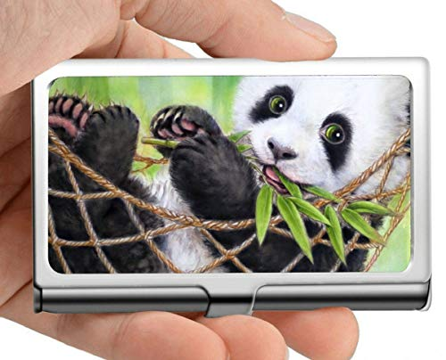 Business Card Holder,Pandas Baby Animal Hammock Giant Panda Art Business Card Holder Business Card Case (Stainless Steel)