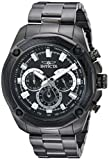 Invicta Men's Aviator Quartz Watch with Stainless-Steel Strap, Black, 10 (Model: 22807)