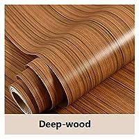 木製の穀物の防水壁紙耐油性の取り外し可能な自己接着剤ステッカーのための子供たちの皮とスティックの壁紙の家の装飾 (Color : Deep wood, Size : 40cm x 1m)