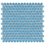 SomerTile Hudson Penny Round Light Blue 12' x 12-5/8' x 5 mm Porcelain Mosaic Tile (10 tiles/10.74 sqft.)