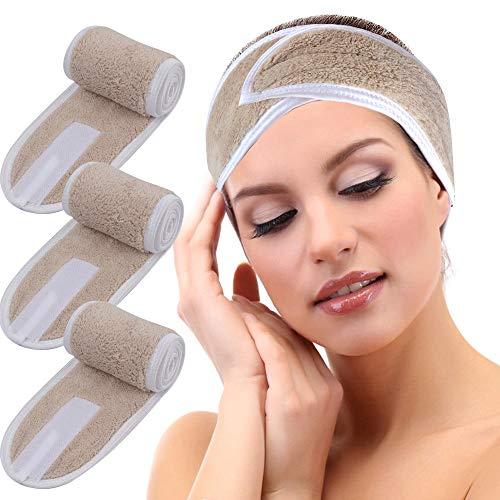 KinHwa Haarband voor cosmetica, microvezel, met klittenbandsluiting, voor cosmetische behandelingen, sport, yoga, wasbaar, 3 stuks pack lichtbruin