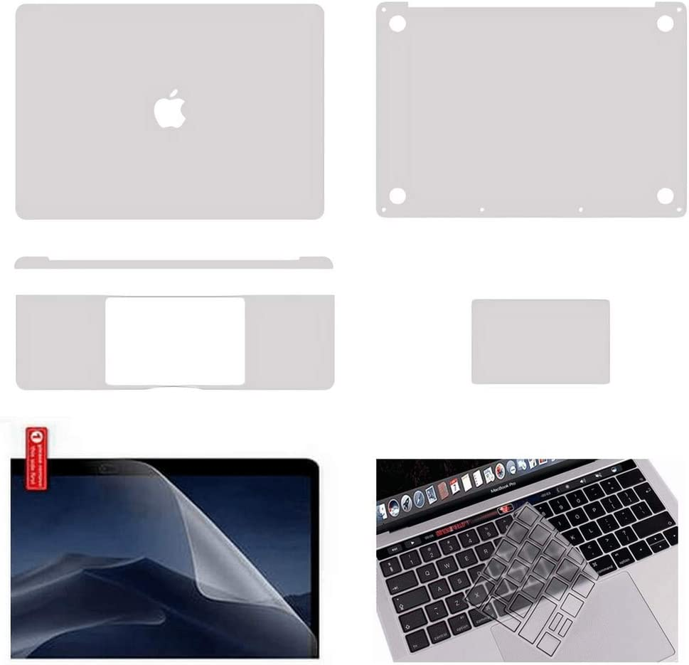 For MacBook Protective-Skin Decals-Stickers Case Screen-Protector EU UK Keyboard-Cover 6in1 3M Full Body Vinyl Invisible Stealth Armor MacBook Air 13 inch 2020 A2179, Space Grey