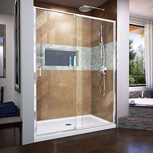 DreamLine Flex 56-60 in. W x 72 in. H Semi-Frameless Pivot Shower Door in Chrome, SHDR-22607200-01
