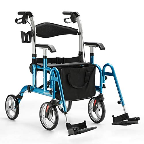 OasisSpace 2 in 1 Folding Rollator Walker with Paded seat, Transport Chair with Reversible Backrest, 10 inches Lager Wheels, Rolling Walker for Senior