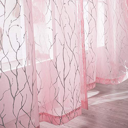 Pink Sheer Curtains for Girls Bedroom - Metallic Silver Foil Tree Window Curtains for Nurery Room Rod Pocket Sheer Curtains 63 Inch Long for Small Window, 52 x 63 Inch, 2 Panels, Pink, by FINECITY
