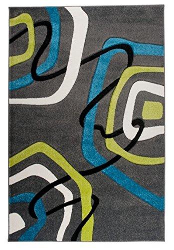TAPISO Sumatra Tappeto Salotto Moderno Soggiorno Motivo Cerchi Astratto Morbido Antracite Blu Verde 120 x 170 cm