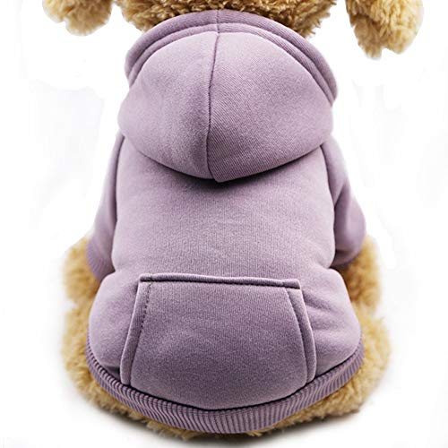 Fashion Focus On New Winter Dog Hoodie Sweaters with Pockets Cotton Warm Dog Clothes for Small Dogs Chihuahua Coat Clothing Puppy cat Custume (Purple, Small)