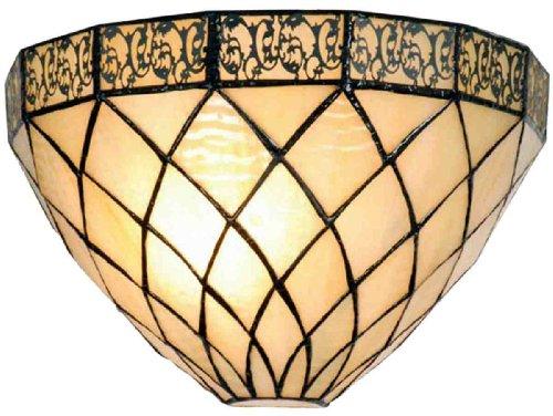 Lumilamp 5LL-1138 Wandleuchte Tiffany filigrees Natur beige komplett 30 * 15cm / 1x E14 max 40w. dekoratives Glas handgefertigd Tiffany Stil Retro Antik Stil