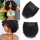 Afro Kinky Curly Clip In Hair Extensions Human Hair,3c 4a Double Lace Weft Curly Hair Clip Ins ,Brazilian Virgin Human Hair For Black Women 12 Inch Natural Color