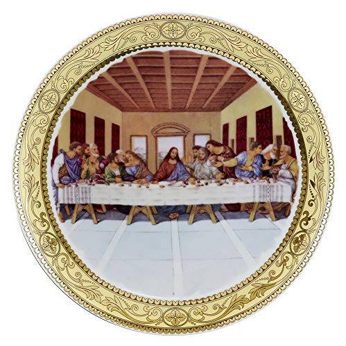(D) Royalty Porcelain 4-pc Hand Painted Wall Plates Last Supper, Hanging Plates