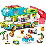 HOGOKIDS Wohnmobil Bausteine Spielzeug für Mädchen - ab 6 7 8 9 10 11 12 Jahre 452 Stück Kreativ Bus Spielset Konstruktionsspielzeug STEM Baukasten Sommerferien-Spielzeug Geschenk für Kinder