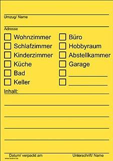 40x Umzugetiketten, Gelb, Beschriftung mit Etiketten vom Umzugskarton für den Überblick beim Umzug, 40 Stück