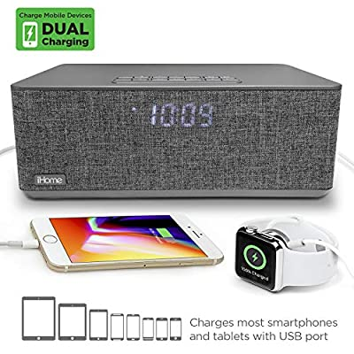 iHome iBT232 Bluetooth Dual Alarm FM Clock Radio with Speakerphone and USB Charging