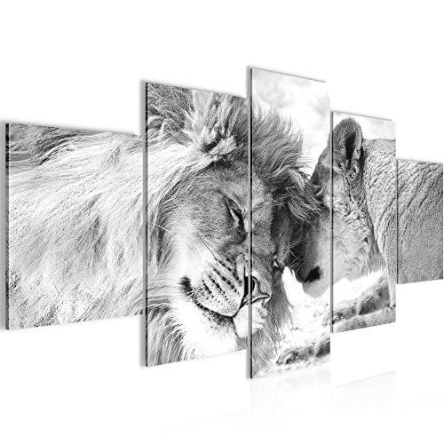 Löwen Liebe Bild Vlies Leinwandbild 5 Teilig Löwen Familie Schwarz Weiss Schlafzimmer Flur 002153c
