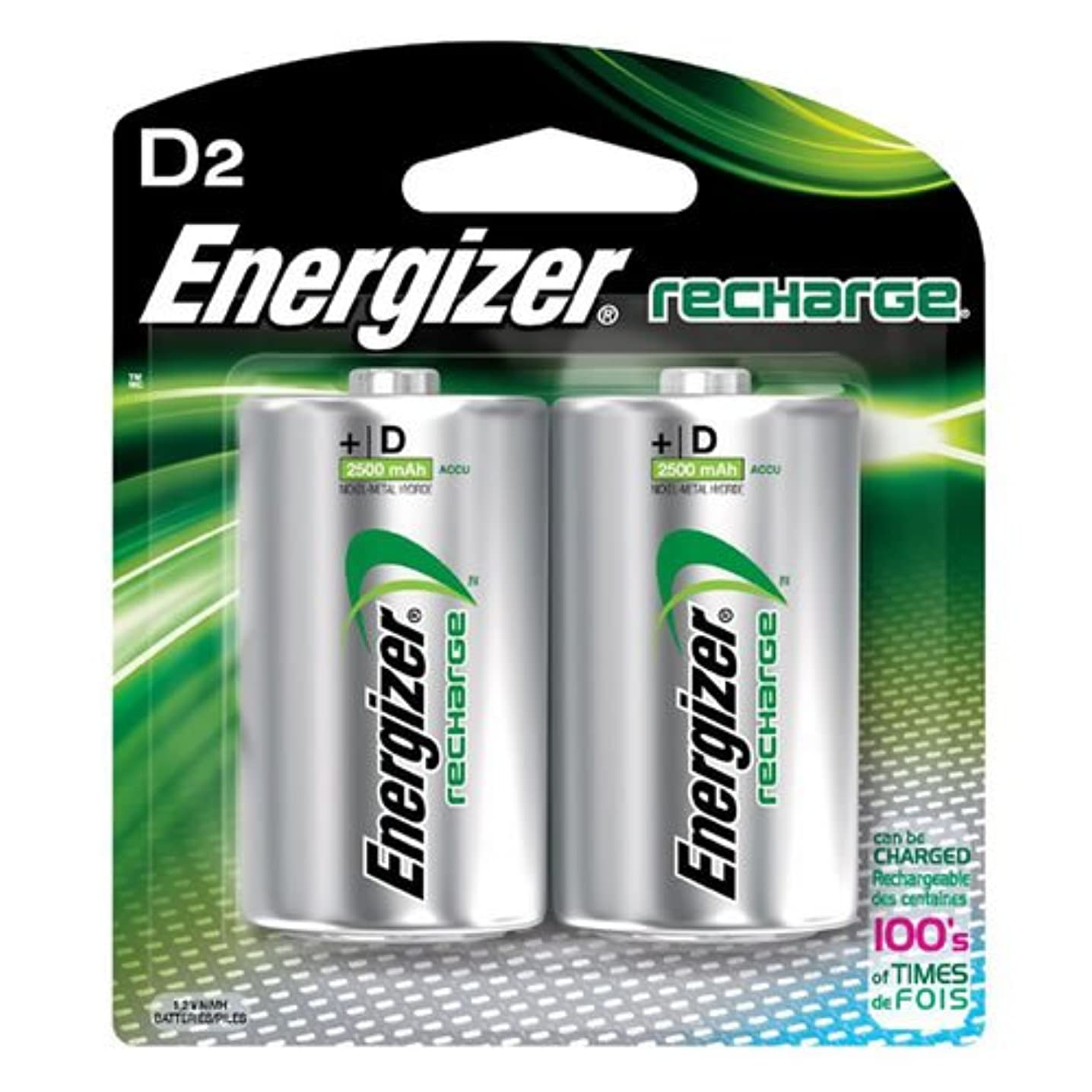 Energizer NH50BP2 NiMH Rechargeable Batteries, D, 2 Batteries/Pack
